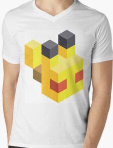 Pikachu Voxel Mens V-Neck T-Shirt