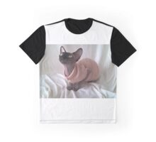 Black sphynx cat whit yellow eyes Graphic T-Shirt