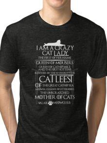 Catleesi- Mother of Cats- White on Black version Tri-blend T-Shirt