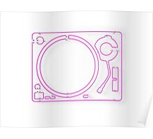 Neon Turntable White Background Poster