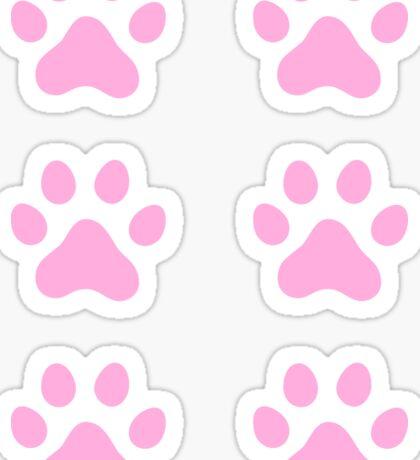 Pink paw print stickers, set of six Sticker