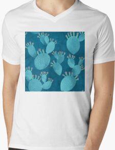 Blue cactus Mens V-Neck T-Shirt