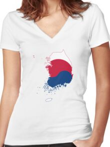 Flag Map of South Korea  Women's Fitted V-Neck T-Shirt