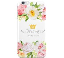 Lovely wishes floral vector design frame. Wild rose, peony, orchid, hydrangea, pink and yellow flowers.  iPhone Case/Skin