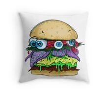 Juicy eye burger Throw Pillow