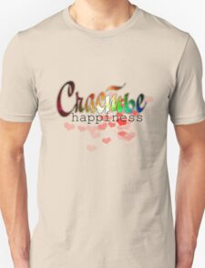 Happiness russian word, rainbow colorful space with stars, red hearts design T-Shirt