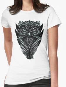 Hand Inked Night Owl Womens Fitted T-Shirt