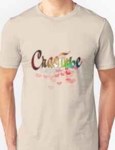 Счастье happiness russian word happiness quote colorful desig with red hearts, black background T-Shirt