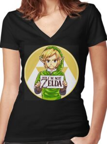 Dude, I'm Not Zelda Women's Fitted V-Neck T-Shirt