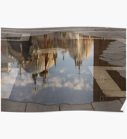 """Acqua Alta or """"High Water"""" Reflects St Mark's Cathedral in Venice Poster"""