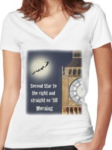 Peter Pan - Second Star to the right and straight on 'till morning Women's Fitted V-Neck T-Shirt