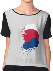 Flag Map of South Korea  Chiffon Top