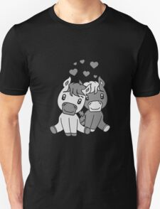 couple couple love love 2 sweet cute sitting comic cartoon pony horses pferdchen kawaii child girl baby foal T-Shirt