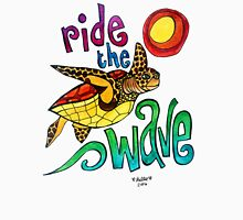 Ride the Wave: Whimsical Sea Turtle Watercolor Illustration Womens Fitted T-Shirt