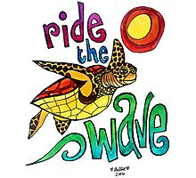 Ride the Wave: Whimsical Sea Turtle Watercolor Illustration Photographic Print