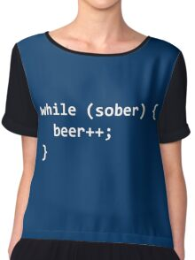 While Sober Do Beer - White Chiffon Top