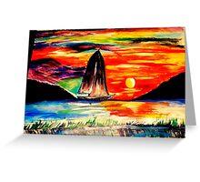 Retro Sunset Greeting Card