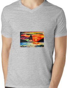 Retro Sunset Mens V-Neck T-Shirt