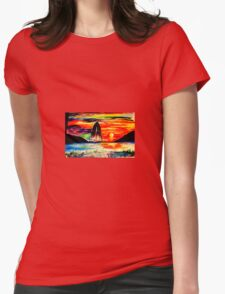 Retro Sunset Womens Fitted T-Shirt