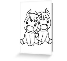 couple couple love love 2 sweet cute sitting comic cartoon pony horses pferdchen kawaii child girl baby foal Greeting Card