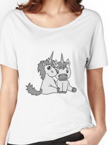 couple love couple in love young unicorn unicorn sweet cute pony horse pferdchen kawaii child girl baby foal Women's Relaxed Fit T-Shirt