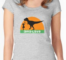Little girl and dinosaur Women's Fitted Scoop T-Shirt
