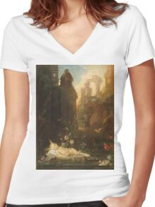 Vintage famous art - Gustave Moreau - The Infant Moses 1876  Women's Fitted V-Neck T-Shirt