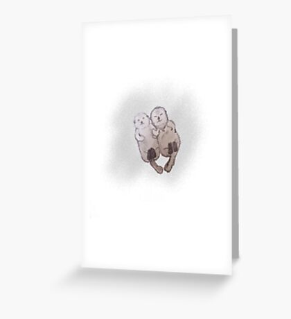 Otters holding hands -Kicks artwork  Greeting Card