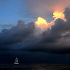 White Sailing Boat and full Moon by Imi Koetz