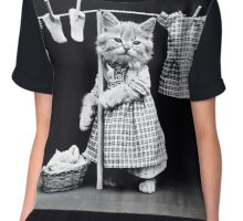 House Wife Kitty cat Chiffon Top