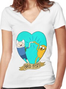 Adventure Time Bro Fist! Women's Fitted V-Neck T-Shirt