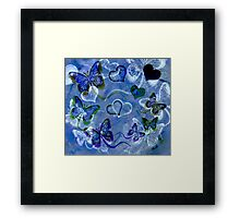 Blue Butterflies and Hearts Framed Print