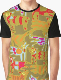 Colorful Abstract Art Tote Bag in Green, Gold & Red Graphic T-Shirt