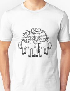couple love couple in love 2 horse mare stallion man woman ties hat loop funny couple Unisex T-Shirt