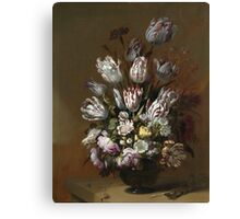 Vintage famous art - Hans Bollongier - Still Life With Flowers Canvas Print