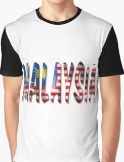 Malaysia Word With Flag Texture Graphic T-Shirt