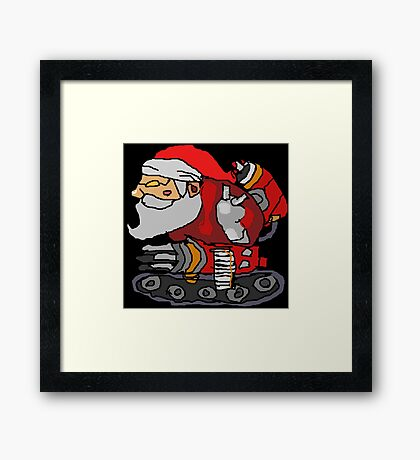 SANTA WITH A MACHINE GUN Framed Print