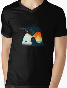 Penguin Sunset Mens V-Neck T-Shirt