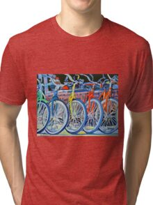 The Bicycle Shop, Bikes in a Row, Bicycle Picture Tri-blend T-Shirt