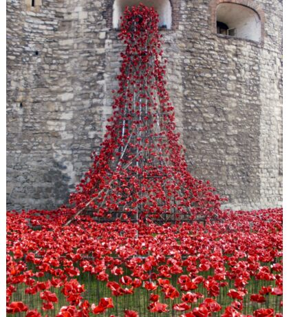 A Cascade Of Poppies At The Tower Of London Sticker