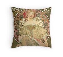Alphonse Mucha - Champagne  Throw Pillow