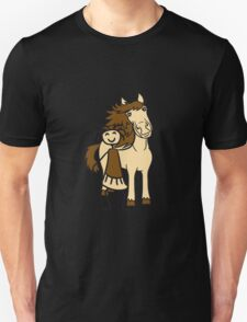 girl child girl stroking friends love beautiful pony stallion riding white comic cartoon T-Shirt