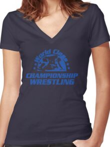 World Class Championship Wrestling t-shirt Women's Fitted V-Neck T-Shirt
