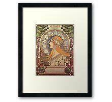 Alphonse Mucha Art Nouveau - La Plume Framed Print