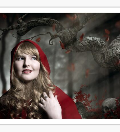 Red Riding Hood in the dark forest Sticker
