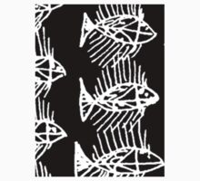 Black and White Abstract Fish Art Tote Bag Baby Tee