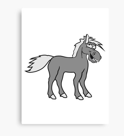 funny silly crazy comic cartoon horse laugh silly stallion donkey Canvas Print