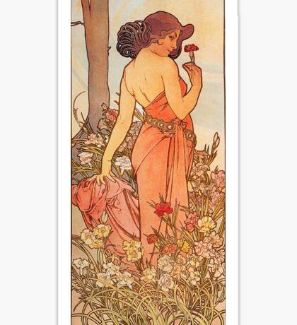 Alphonse Mucha - Art Nouveau - Red Flower Sticker