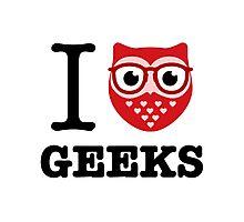 I Owl Geeks (love heart) Photographic Print
