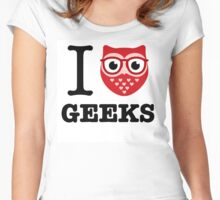 I Owl Geeks (love heart) Women's Fitted Scoop T-Shirt